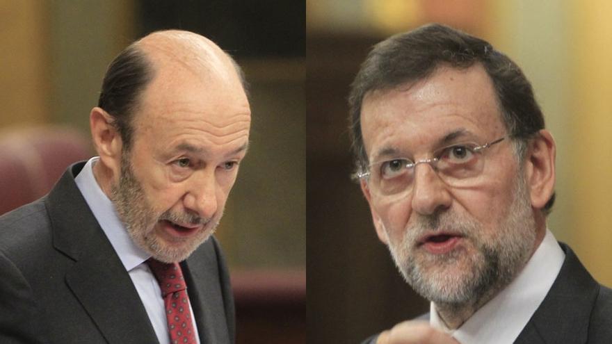 """Rubalcaba acusa a Rajoy de poner precio a los derechos y éste culpa a """"la política de aumento de déficit"""" del PSOE"""