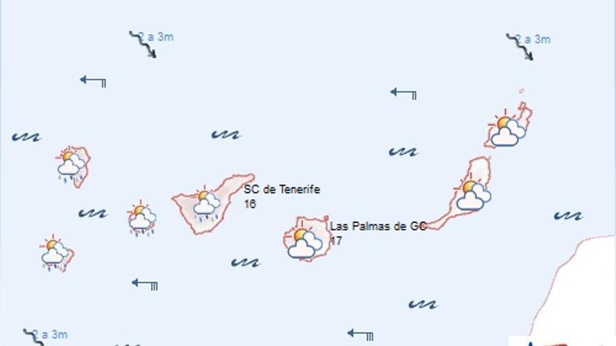 Previsión meteorológica de la Agencia Estatal de Meteorología en Canarias para este sábado, 10 de enero de 2015.
