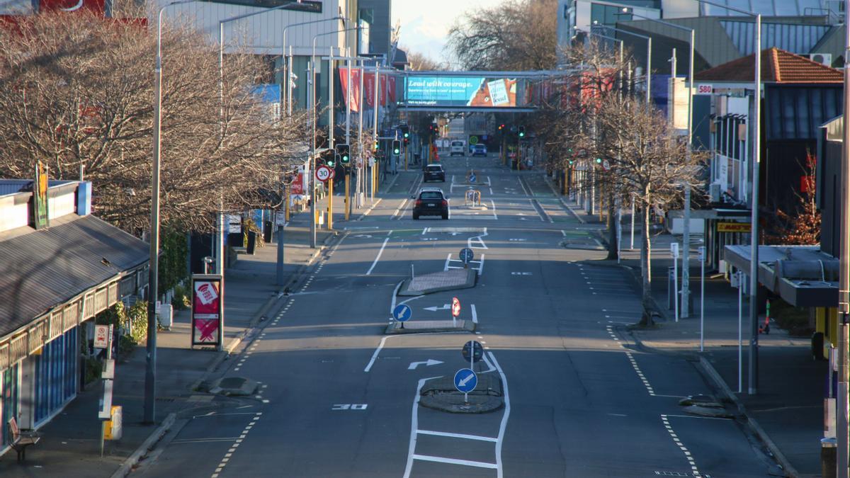 La calle principal del centro de Christchurch, Nueva Zelanda, durante el confinamiento en agosto.