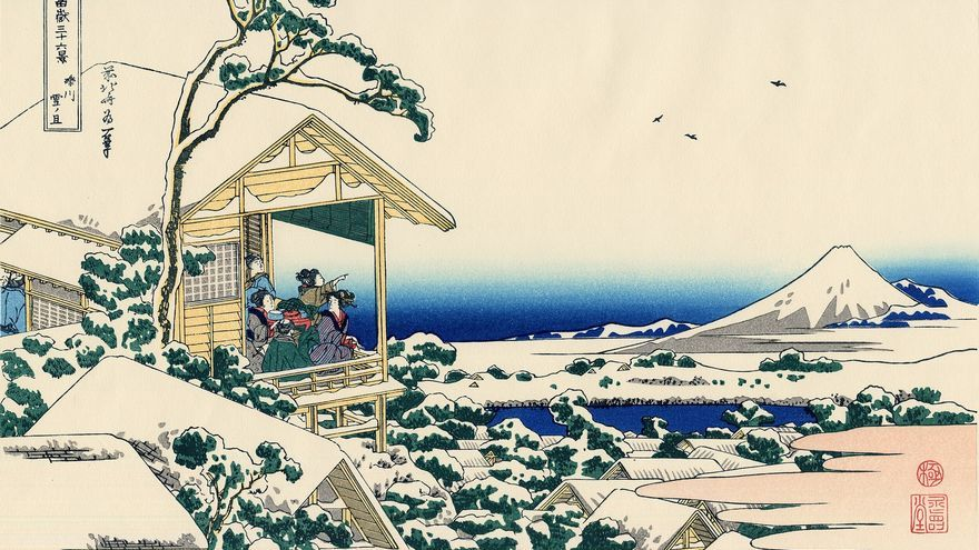 'Casa de Té en Koishikawa. La mañana después de una nevada', grabado nº 14 de 'Treinta y seis vistas sobre el monte Fuji'