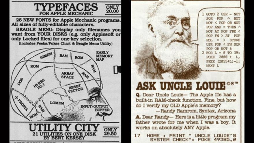 A la izquierda, un anuncio del programa Utility City. A la derecha, el tío Louie