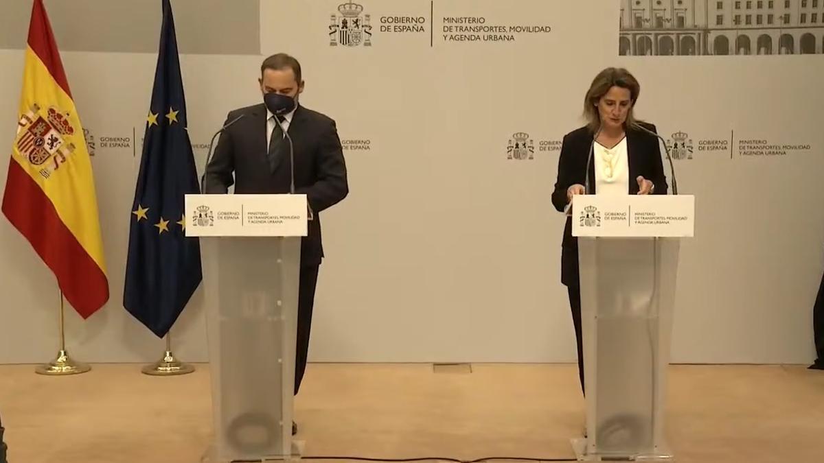 José Luis Ábalos y Teresa Ribera, este miércoles.