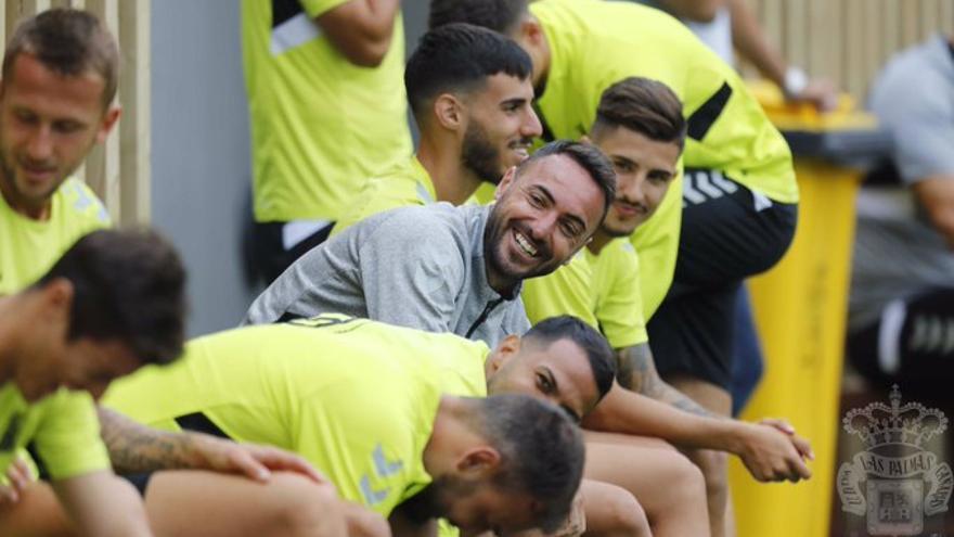 Momo, en un entrenamiento de Las Palmas