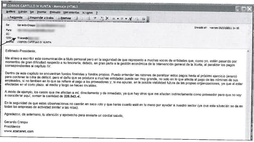 Correo de Crespo a Feijóo con copia oculta a De Lucas, inserto en el sumario del caso