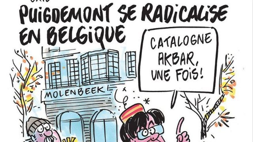 """Puigdemont se radicaliza en Bélgica"" por Charlie Hebdo"