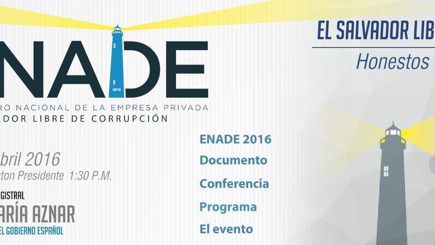 Cartel de la conferencia de José María Aznar sobre corrupción en El Salvador.