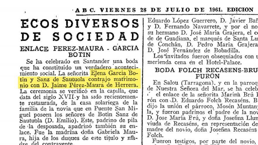 Matrimonio entre Jaime García Maura y Elena García Botín publicado en la sección 'Vida Social' de ABC