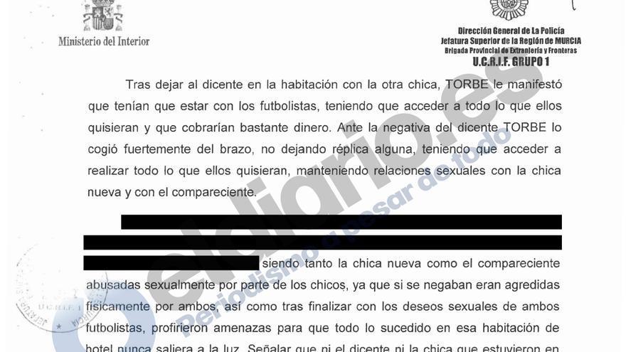 """Informe policial incluido en el caso Torbe, el empresario del porno. """"El dicente"""" y """"el compareciente"""" son fórmulas para referirse a la testigo protegido."""
