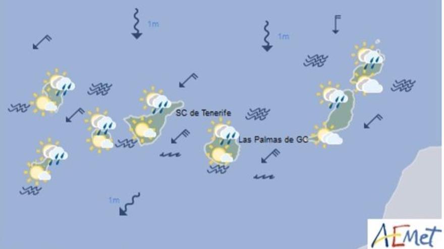 Mapa con la previsión meteorológica para este jueves, 6 de julio de 2017