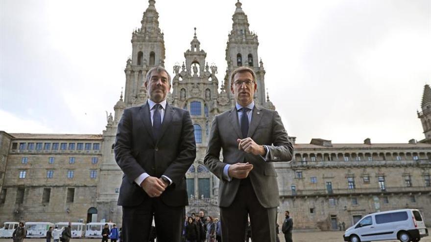 El titular del Gobierno gallego, Alberto Núñez Feijóo, recibió al presidente del Gobierno de Canarias, Fernando Clavijo
