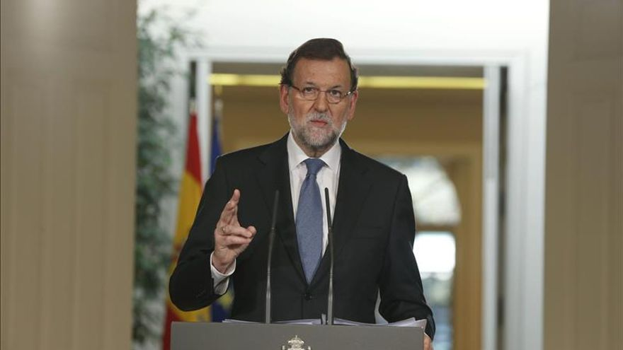 El presidente del Gobierno, Mariano Rajoy, durante la rueda de prensa que ofreció en el Palacio de la Moncloa, tras el último Consejo de Ministros de 2014 FOTO: EFE