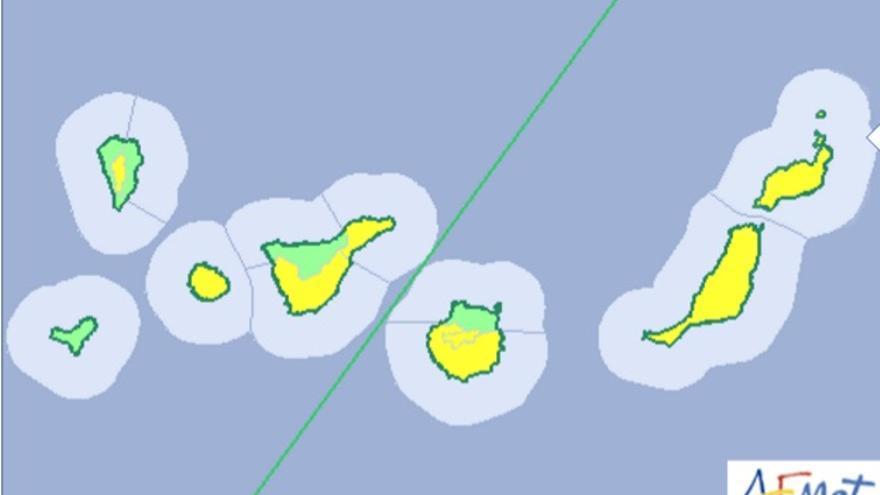 Aviso amarillo en las islas para este martes.