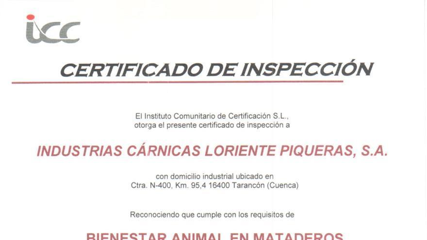 Certificado del Instituto Comunitario de Certificación para Incarlopsa