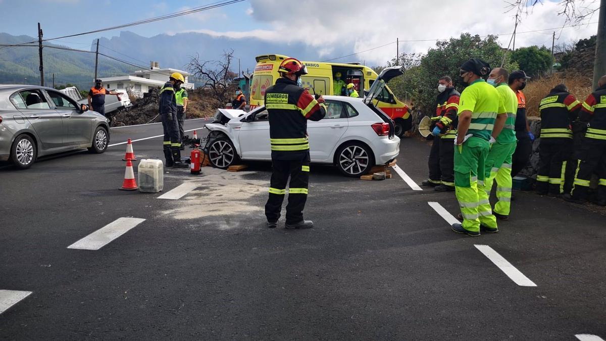 Accidente de tráfico en El Paso (La Palma) con cuatro heridos.