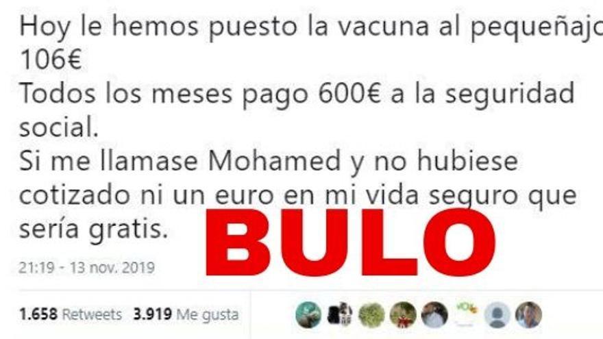 """No, """"la vacuna de 106 euros"""" no es gratis para hijos de inmigrantes: es la del meningococo B y su precio no depende de la nacionalidad o la cotización de los beneficiarios"""