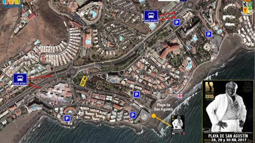 Zonas de aparcamiento para Maspalomas Costa Canaria Soul Festival.