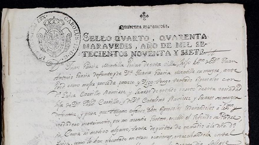 """Documento de 'Depósito de novias"""" de 1797. (Foto. Archivo Histórico Provincial de Córdoba)"""