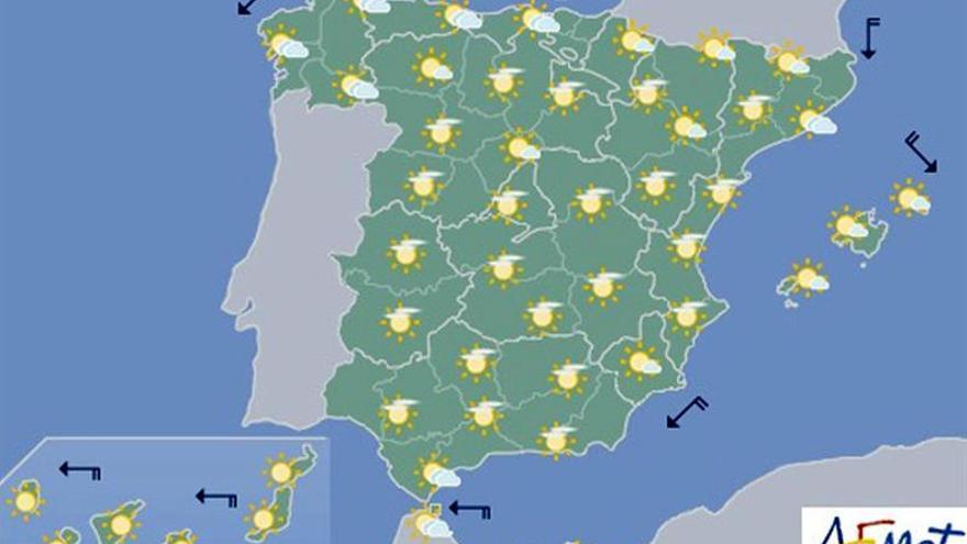 Hoy, temperaturas en ascenso, más notable en las islas Canarias orientales