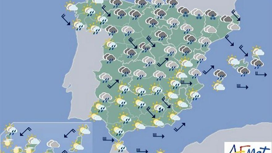 Today, heavy rains in the Cantabrian and strong wind in the northern third