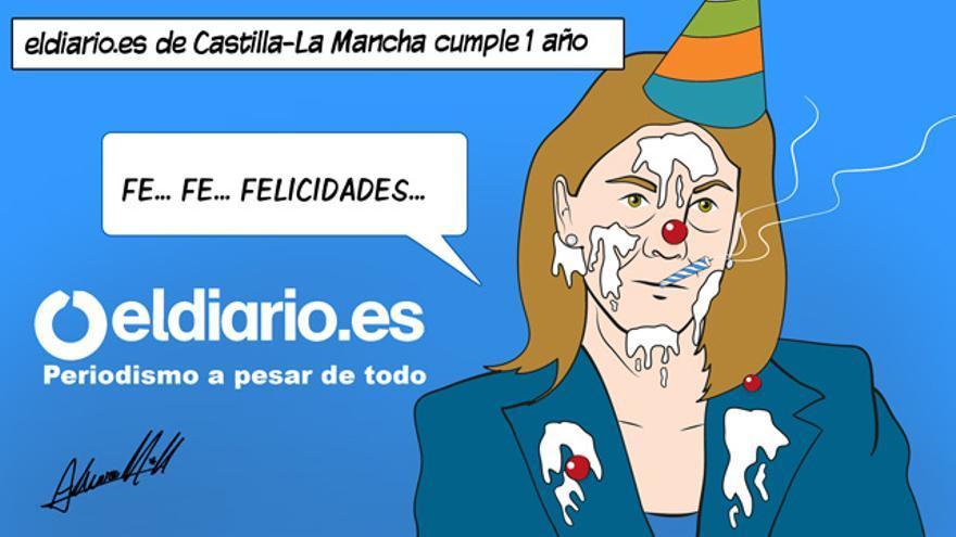 Viñeta primer aniversario de eldiario.es Castilla-La Mancha