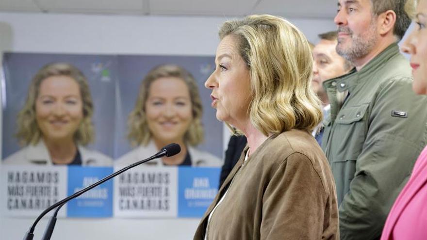 La diputada electa de Coalición Canaria por Santa Cruz de Tenerife, Ana Oramas, durante la noche electoral del 10N.