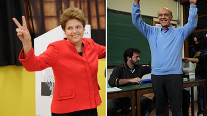 La candidata presidencial del PT, Dilma Rousseff, y el del PSDB, José Serra