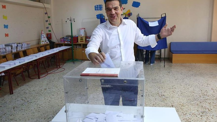 Alexis Tsipras, votando el 7 de julio de 2019 en Atenas.
