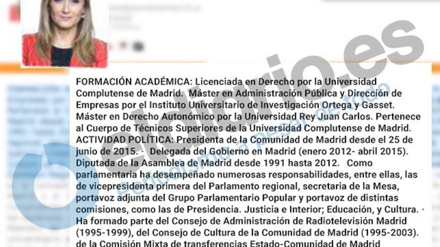 Currículum de Cristina Cifuentes en la web de la Asamblea de Madrid.