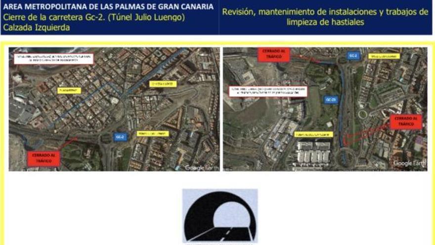Carreteras anuncia un nuevo cierre del túnel de Julio Luengo este domingo