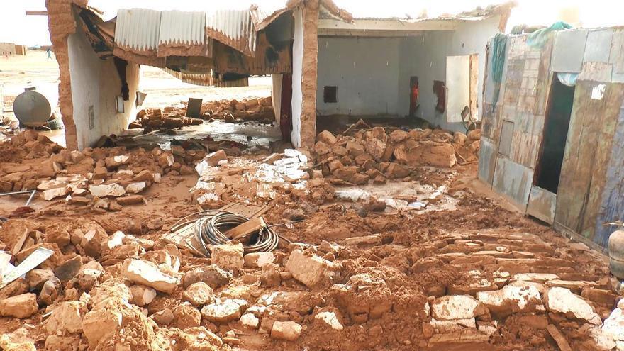 Aspecto de un campamento saharaui tras las lluvias / Foto cedida por Rasd tv