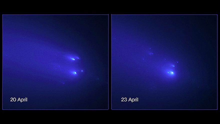 Imágenes de los fragmentos del cometa C/2019 Y4 (ATLAS) obtenidas el 20 y 23 de abril de 2020 por el Telescopio Espacial Hubble de la NASA/ESA