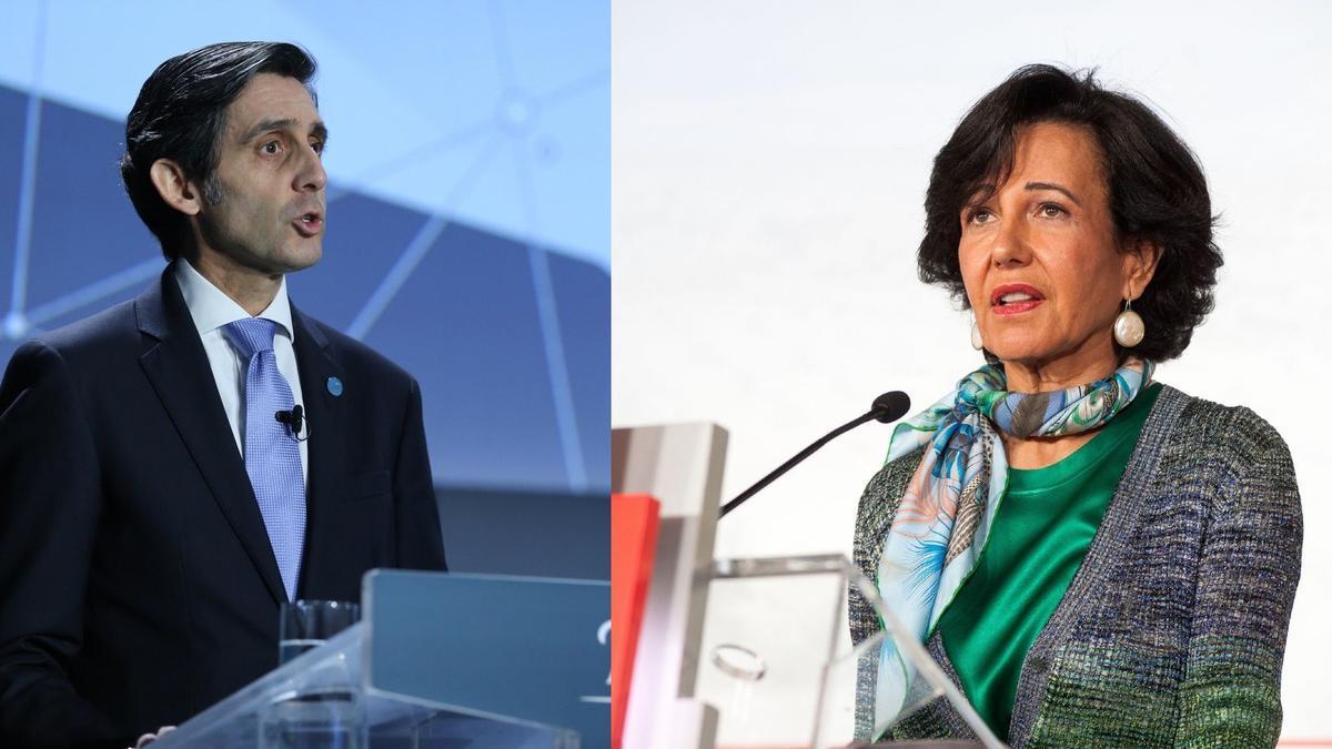 José María Álvarez Pallete, presidente de Telefónica, y Ana Botín, presidenta del Santander.
