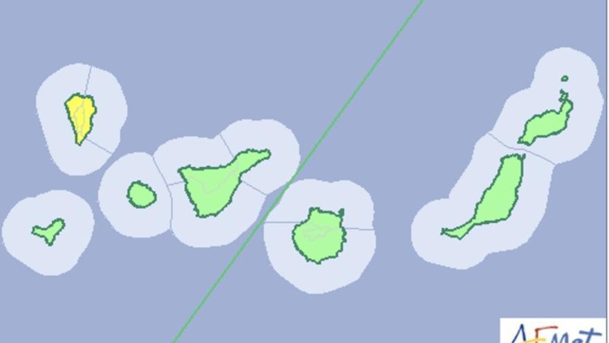 Mapa de la Aemet del aviso de riesgo por lluvia y viento en La Palma para este viernes, 2 de diciembre de 2016.