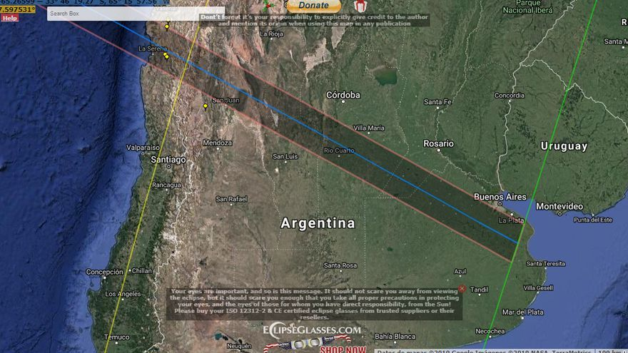 Mapa realizado por Xavier Jubier que muestra la zona de umbra del próximo eclipse total de Sol del 2 de julio de 2019. Xavier Jubier