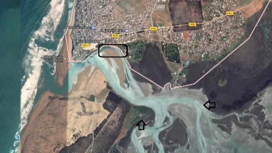 Foto aérea de los lugares de salida de Marruecos, señalados por los menores, en las inmediaciones de Moulay Bousselham y el río Ued Dreder. Imagen cedida por José Carlos Cabrera.