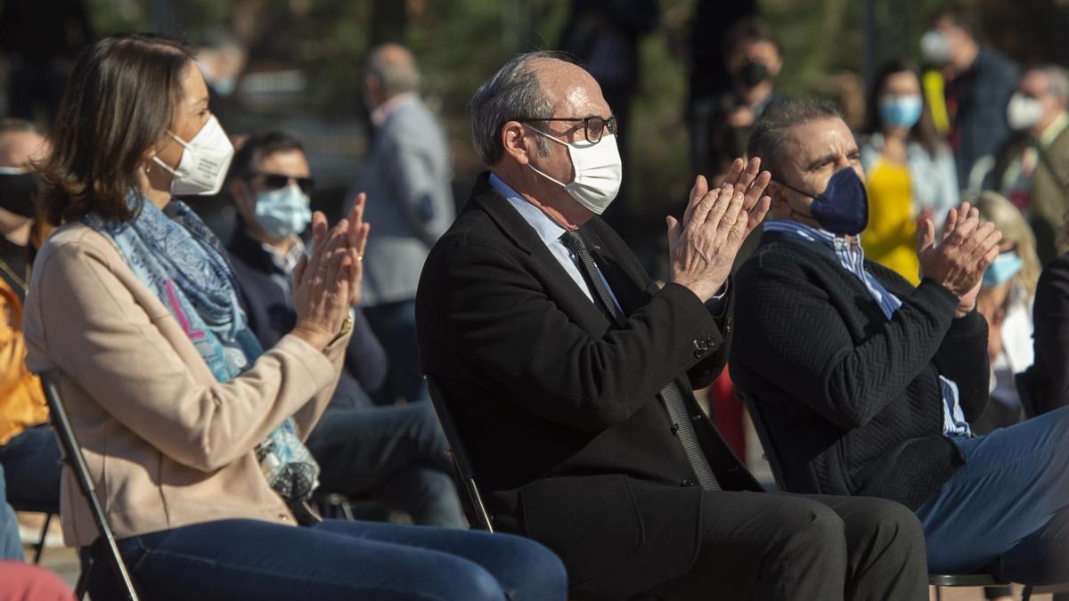 La ministra de Industria, Comercio y Turismo, Reyes Maroto; el candidato del PSOE a la Presidencia de la Comunidad de Madrid, Ángel Gabilondo