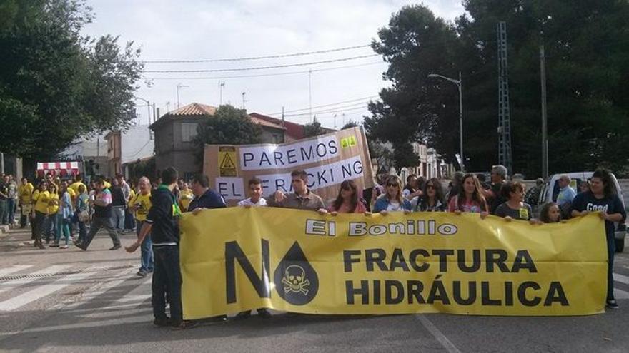Manifestación contra el 'fracking' en El Bonillo / Foto: CGT Villarrobledo