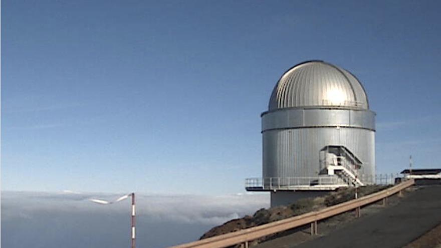 En la imagen, el Telescopio Óptico Nórdico (NOT), este martes. Imagen captada de la webcam del NOT.