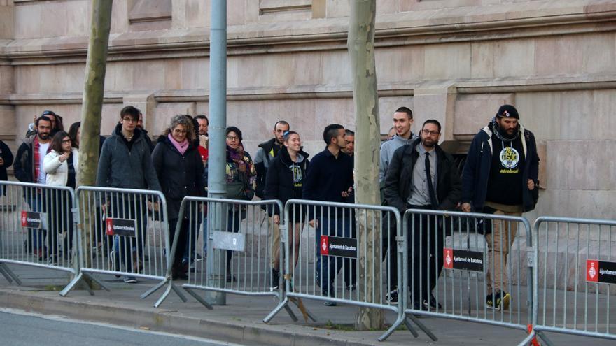 Llegada de los acusados al juicio en la Audiencia de Barcelona
