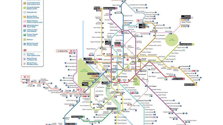 Plano de metro LGTBIQ de Madrid, Javier Sáez del Álamo. Expuesto en CentroCentro de Madrid