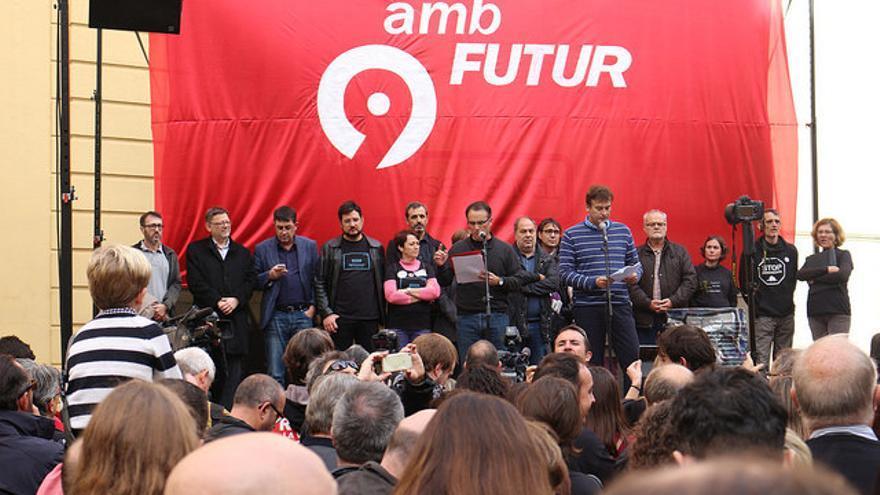 Imagen de la concentración que se ha hecho al lado del Palau de Generalitat