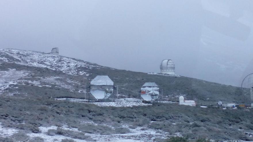 Panorámica del Observatorio del Roque de Los Muchachos en la mañana de este viernes.