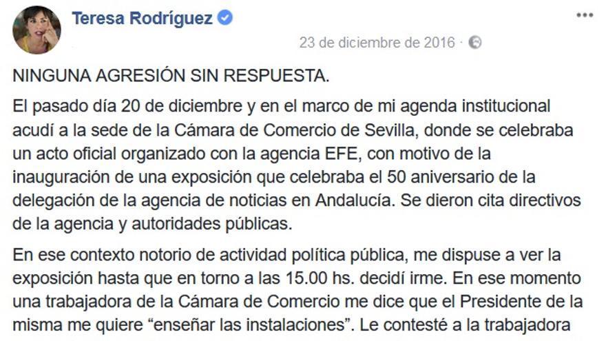 Primera parte del comunicado de Teresa Rodríguez sobre su agresión en la Cámara de Comercio