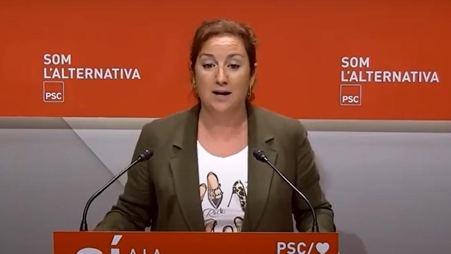La portavoz del PSC en el Parlament, Alícia Romero, en rueda de prensa en la sede del PSC.