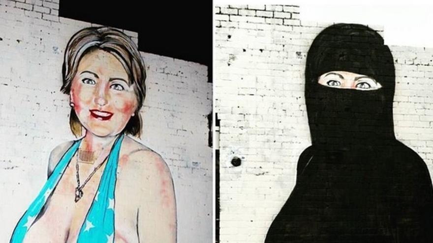 Hillary clinton en ba ador o con niqab era este mural for Mural nuestra carne