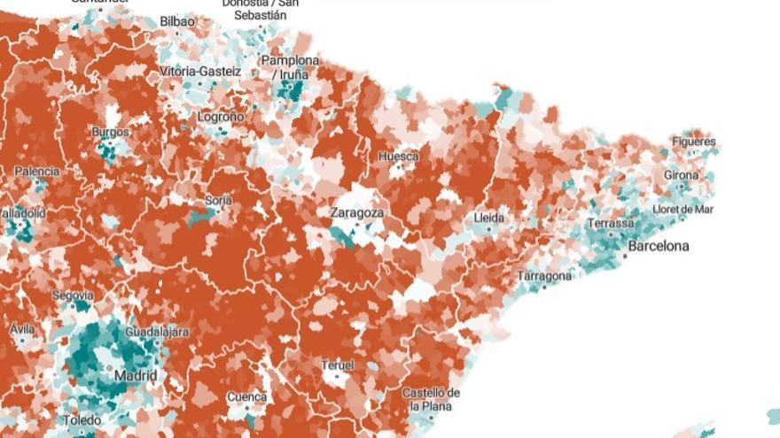 Solo los municipios circundantes a Zaragoza tuvieron un destacado crecimiento natural entre 1996 y 2018.