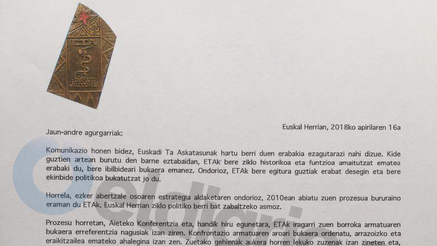 Encabezado de la carta remitida por ETA