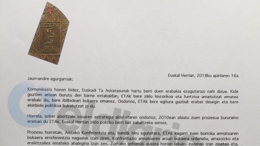 Primera página de la carta remitida por ETA