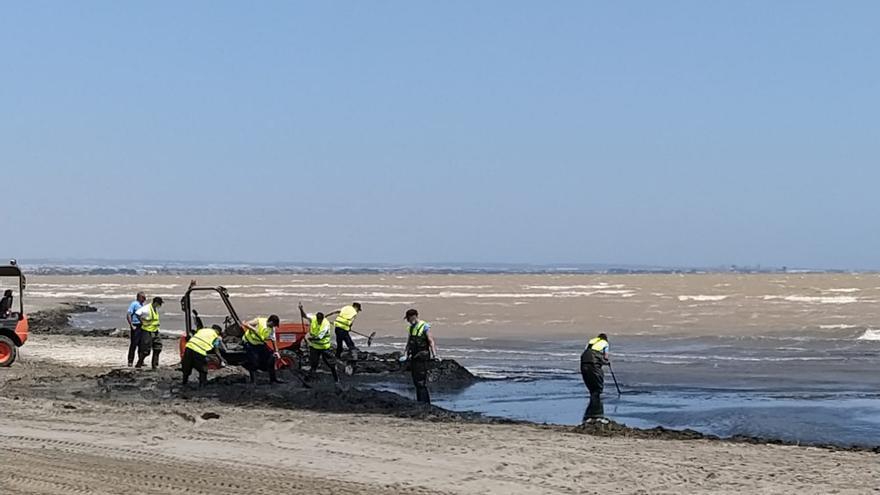 Limpieza de la playa de Los Urrutias, en la zona sur del Mar Menor, esta semana