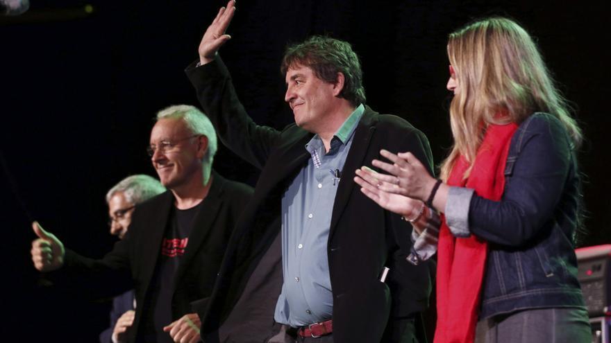 Luis García Montero, Cayo Lara, Raquel López y Gaspar Llamazares, en la campaña de 205.